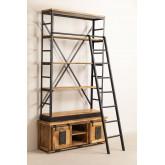 Uain boekenkast van gerecycled hout met ladder, miniatuur afbeelding 2