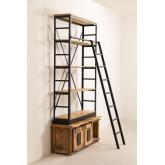 Uain boekenkast van gerecycled hout met ladder, miniatuur afbeelding 3