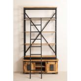 Uain boekenkast van gerecycled hout met ladder, miniatuur afbeelding 4
