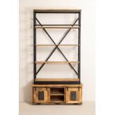 Uain boekenkast van gerecycled hout met ladder, miniatuur afbeelding 5