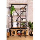Uain boekenkast van gerecycled hout met ladder, miniatuur afbeelding 1