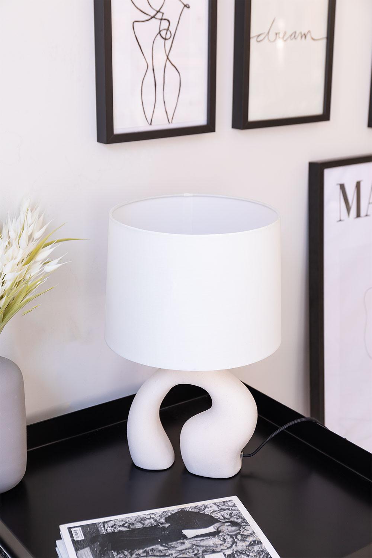 Tafellamp in stof en polyethyleen Mimba, galerij beeld 1