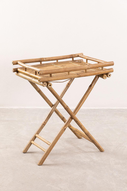Wallis opvouwbare bijzettafel met dienblad in bamboe, galerij beeld 1
