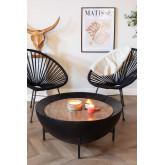 Ronde salontafel van mangohout en ijzer (Ø90 cm) Muty, miniatuur afbeelding 1