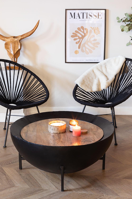 Ronde salontafel van mangohout en ijzer (Ø90 cm) Muty, galerij beeld 1