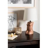 Kazi tafellamp van polyethyleen en stof, miniatuur afbeelding 1