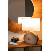 Tafellamp in hout en stof Abura, miniatuur afbeelding 2
