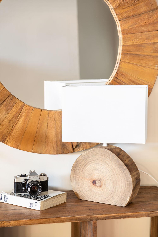 Tafellamp in hout en stof Abura, galerij beeld 1