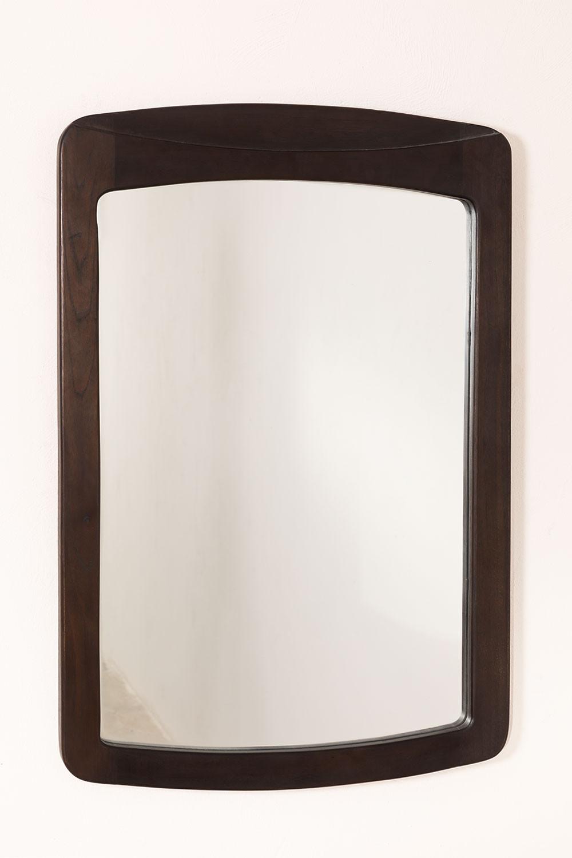 Teakhouten wandspiegel (90x60 cm) Somy, galerij beeld 1