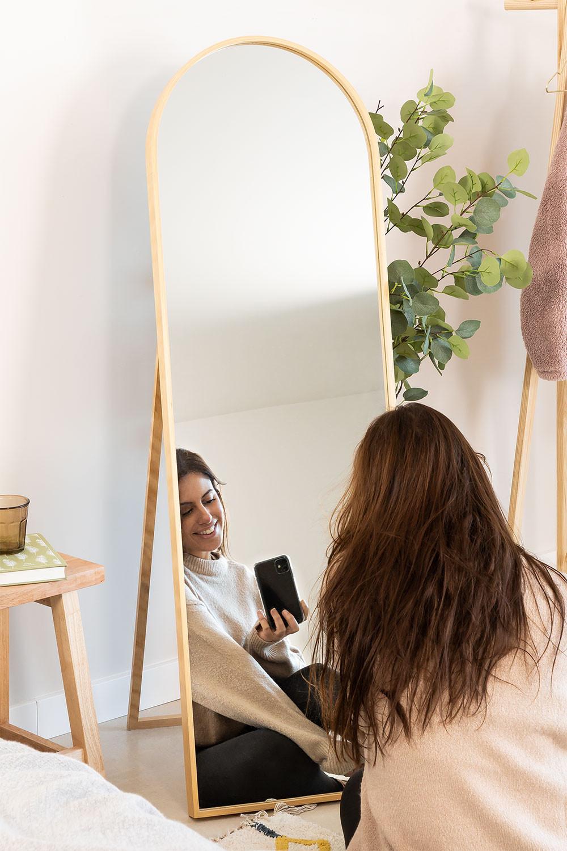 Staande spiegel in grenenhout (137x45,5 cm) naty, galerij beeld 1