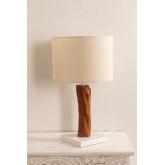 Tafellamp in stof en Lobra-hout, miniatuur afbeelding 2