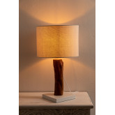 Tafellamp in stof en Lobra-hout, miniatuur afbeelding 3