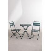 Janti opklapbare tafelset (60x60 cm) & 2 Janti opklapbare tuinstoelen, miniatuur afbeelding 2