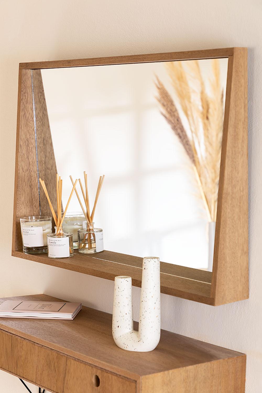 Rechthoekige Wandspiegel met MDF Plank (50x80 cm) Nurah, galerij beeld 1