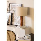 Tafellamp in stof en Lobra-hout, miniatuur afbeelding 1