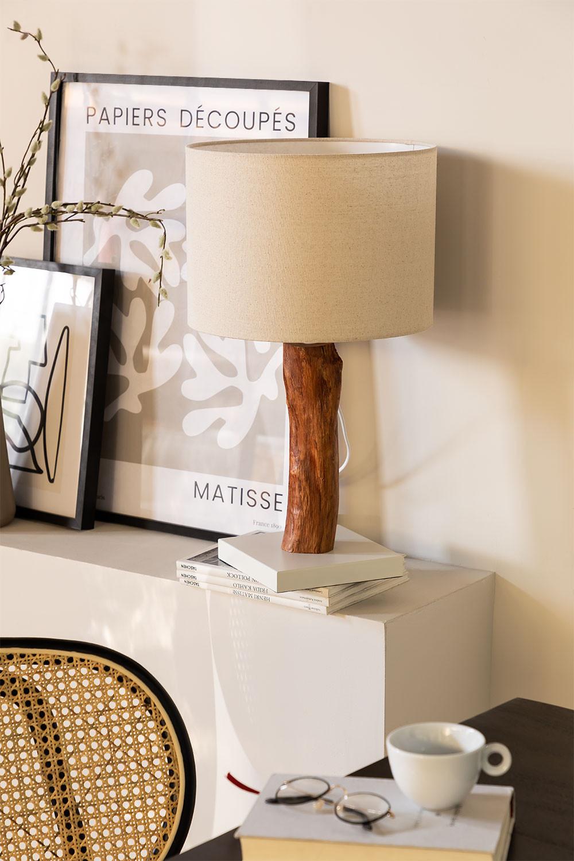 Tafellamp in stof en Lobra-hout, galerij beeld 1