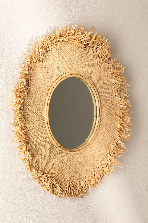 Ronde wandspiegel in Raffia (Ø55 cm) Deani, galerij beeld 1