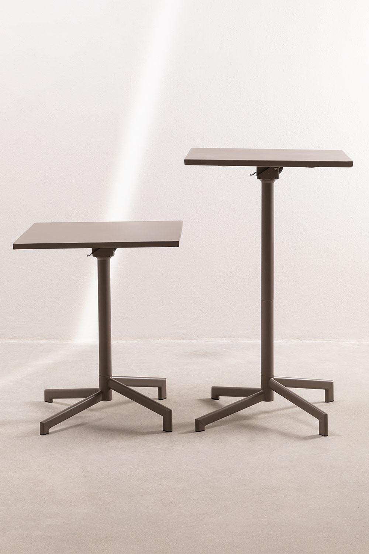 Opklapbare en converteerbare bartafel in 2 hoogtes in staal (60x60 cm) Dely , galerij beeld 1