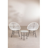 Set 2 stoelen en 1 tafel in polyethyleen en staal New Acapulco, miniatuur afbeelding 2
