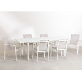 Starmi Uitschuifbare tafelset (180 - 240 cm) & 6 Eika tuinstoelen, miniatuur afbeelding 2
