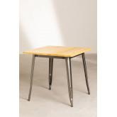 LIX houten tafel geborsteld staal (80x80), miniatuur afbeelding 2