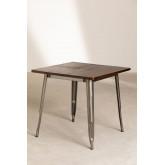 LIX houten tafel geborsteld staal (80x80), miniatuur afbeelding 1