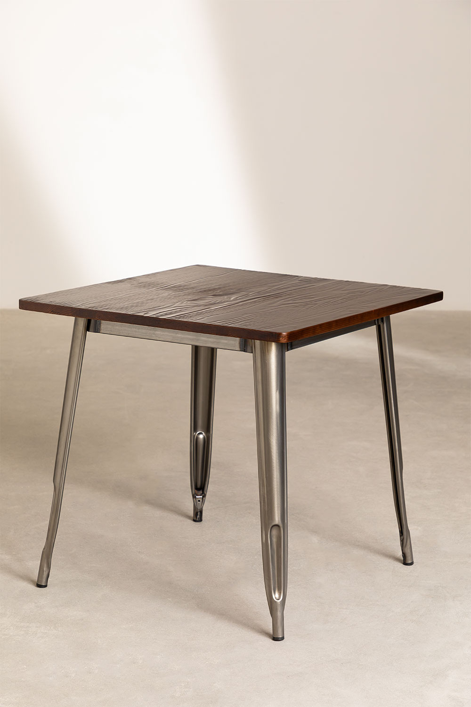 LIX houten tafel geborsteld staal (80x80), galerij beeld 1