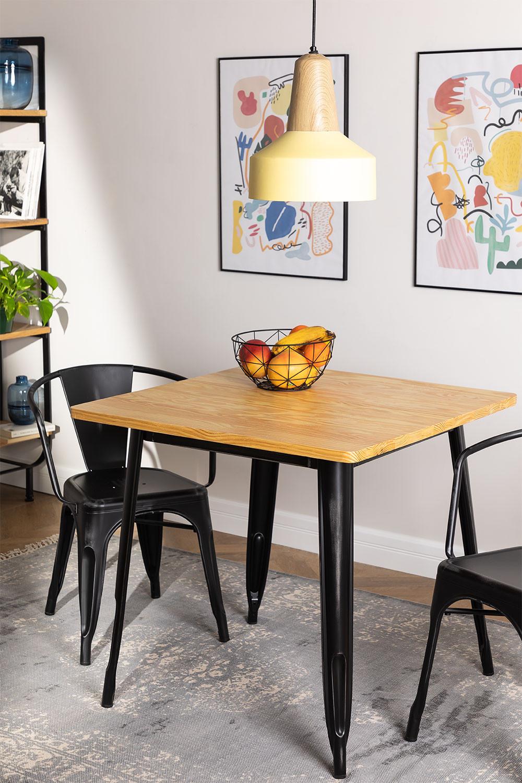 LIX Vintage houten tafel (80x80), galerij beeld 1