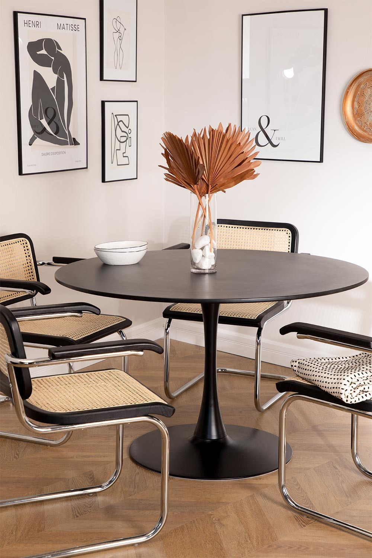 Ronde eettafel in Tuhl-stijl van MDF en metaal , galerij beeld 1