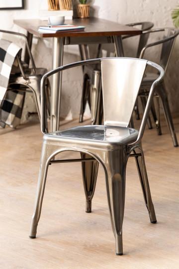 LIX stoel geborsteld staal met armleuningen