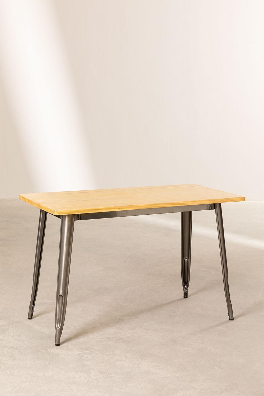 LIX houten tafel geborsteld staal (120x60), galerij beeld 1