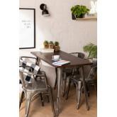 LIX houten tafel geborsteld staal (120x60), miniatuur afbeelding 1