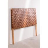 Zaid houten en leren hoofdeinde voor bed van 150 cm, miniatuur afbeelding 2