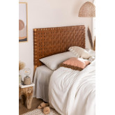 Zaid houten en leren hoofdeinde voor bed van 150 cm, miniatuur afbeelding 1