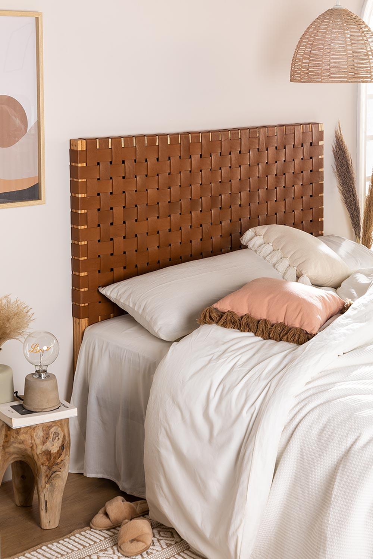 Zaid houten en leren hoofdeinde voor bed van 150 cm, galerij beeld 1