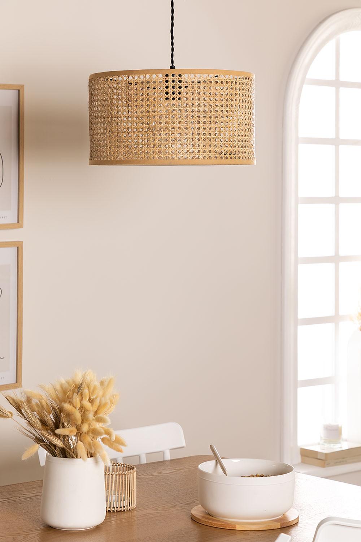 Plafondlamp in rotan Serri, galerij beeld 1