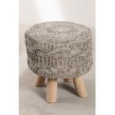 Rixar lage ronde kruk van wol en hout , miniatuur afbeelding 3