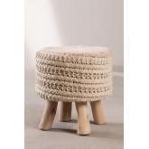 Ronde kruk van wol en hout Jein, miniatuur afbeelding 2