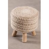 Ronde kruk van wol en hout Jein, miniatuur afbeelding 3