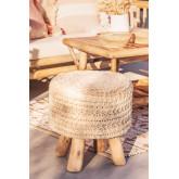 Ronde kruk van wol en hout Jein, miniatuur afbeelding 1
