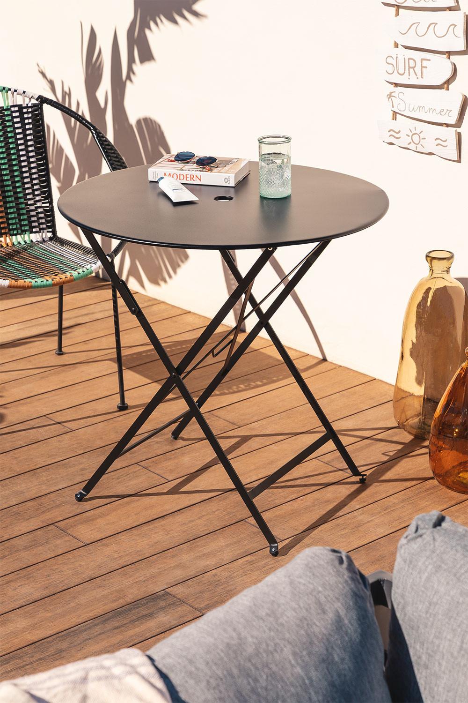 Opklapbare stalen tuintafel Dreh (Ø77 cm), galerij beeld 1