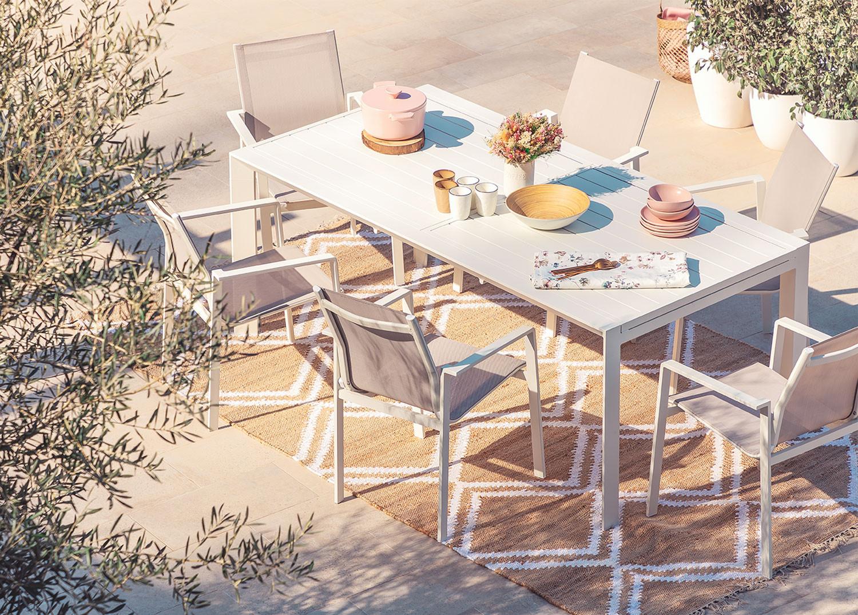 Starmi Uitschuifbare tafelset (180 - 240 cm) & 6 Eika tuinstoelen, galerij beeld 1