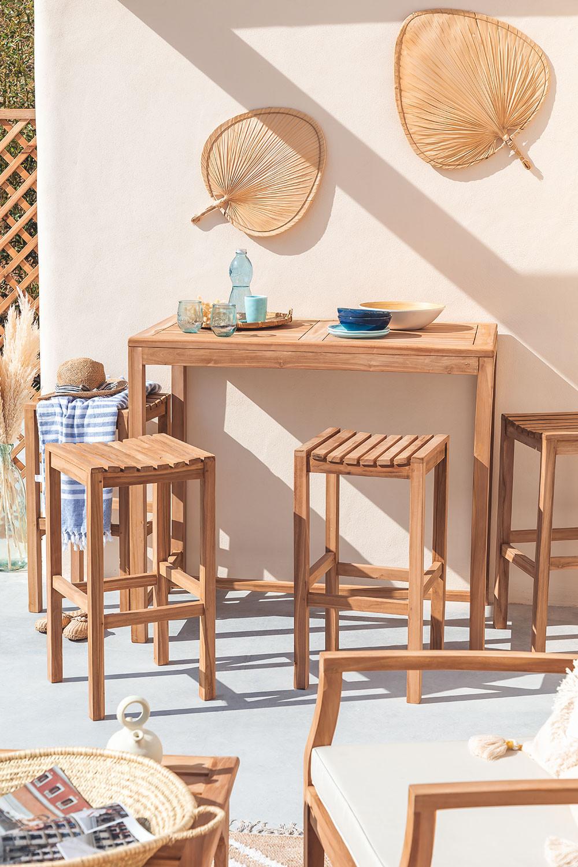 Tuinset tafel en 4 hoge krukken in teakhout Pira, galerij beeld 1