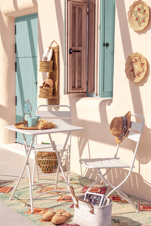 Janti opklapbare tafelset (60x60 cm) & 2 Janti opklapbare tuinstoelen, galerij beeld 1