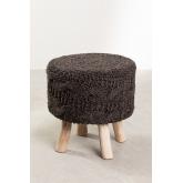 Rixar lage ronde kruk van wol en hout , miniatuur afbeelding 1