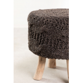 Rixar lage ronde kruk van wol en hout , miniatuur afbeelding 2