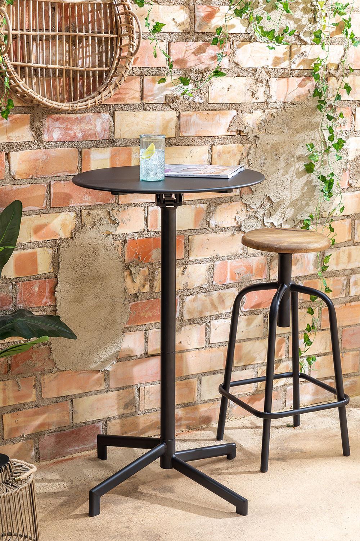 Opklapbare en converteerbare bartafel in 2 hoogtes in staal (Ø59,5 cm) Dely , galerij beeld 1
