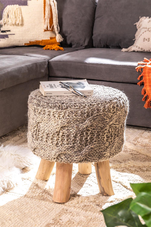 Rixar lage ronde kruk van wol en hout , galerij beeld 1