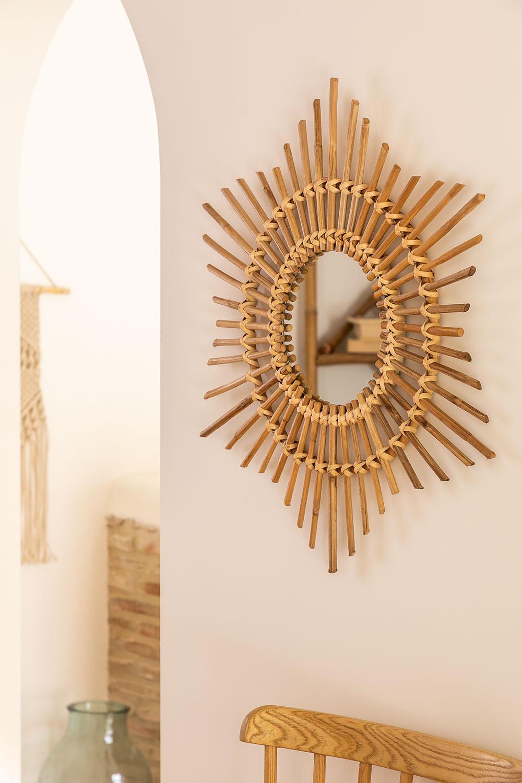Ronde bamboe wandspiegel (66x66 cm) Etual, galerij beeld 1